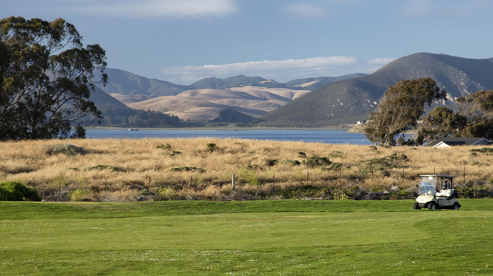 View of the rolling hills and Los Osos backbay from Sea Pines Golf Resort 9-hole executive course